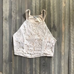 Halter crop top cream and white lace open back